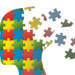 Puzzle head with brain parts in disunity